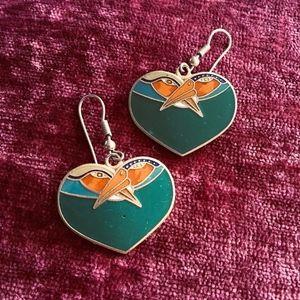 Laurel Burch Heart Bird Earrings